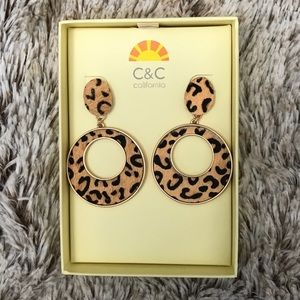 NWT C & C California Leopard Earrings